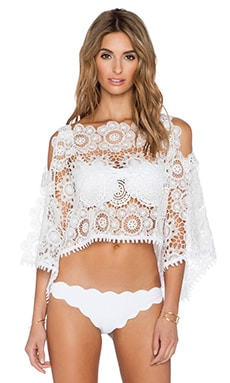 ale by alessandra White Sands Lace Crop Top in White Lace