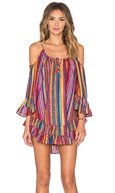 ale by alessandra Ruffle Cold Shoulder Dress in Bahia Coast