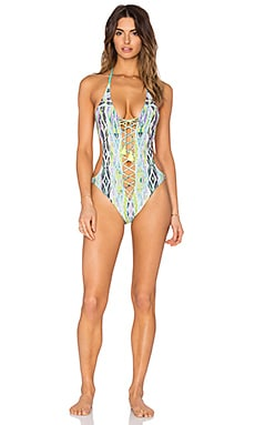 ale by alessandra Brazil Lace Up Swimsuit in Treasure Chest