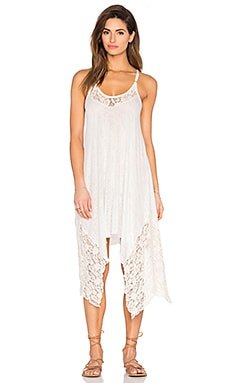 V Neck Lace Dress en Blanc