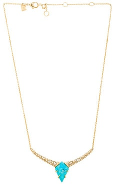 Alexis Bittar Encrusted Kite Pendant Necklace in Gold & Turquoise