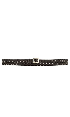 Alice + Olivia Studded Skinny Wrap Belt in Black & Gold