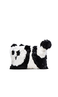 Alice + Olivia Panda Rabbit Fur Muff in Black & White