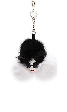 Alice + Olivia Stace Face Rabbit Fur Charm in Cream & Black