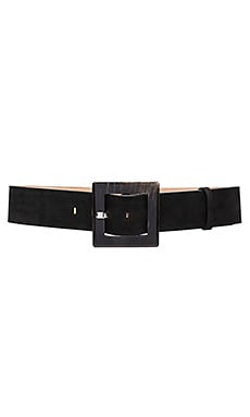 Square Buckle Suede Wide Belt