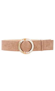Alice + Olivia Round Buckle Suede Wide Belt in Tan