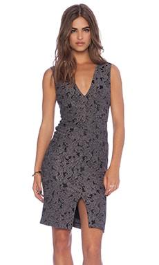 Alice + Olivia Baylee V Neck Dress in Grey & Black