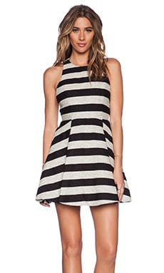 Alice + Olivia Chase Box Pleat Dress in Black & Silver