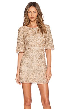 Alice + Olivia Drina Embellished Dress in Nude & Rose Gold