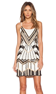 Alice + Olivia Jasmin Beaded Slip Dress in Multi Neutral
