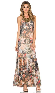Alice + Olivia Shona Embellished Trapeze Dress in Jungle Safari