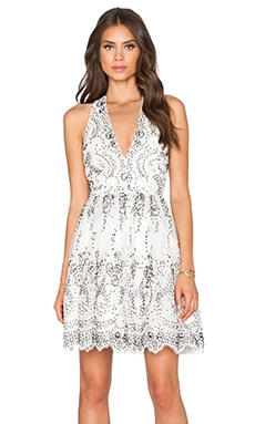Alice + Olivia Steffy Low V Party Dress in Cream & Black