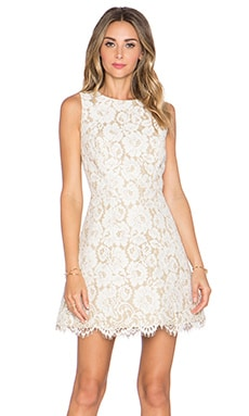 Alice + Olivia Leann Sleeveless Dress in Ivory & Tan