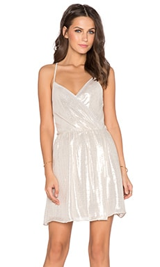 Alice + Olivia Livy Draped Slit Dress in Silver Metallic