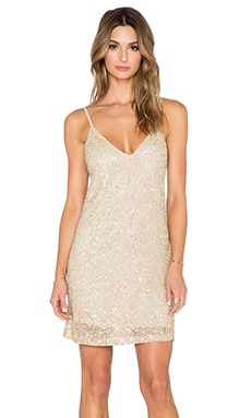Alice + Olivia Kalia Beaded Slip Dress in Gold Multi