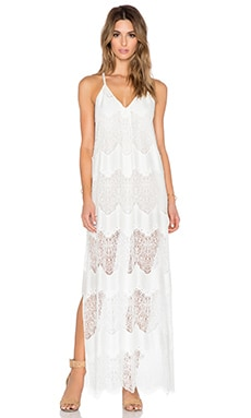 Alice + Olivia Vandy Slit Dress in Off White