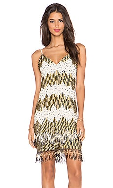 Alice + Olivia Lyle Embellished Dress in Black, Cream & Gold