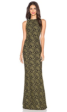 Alice + Olivia Roxie Maxi Dress in Olive & Black