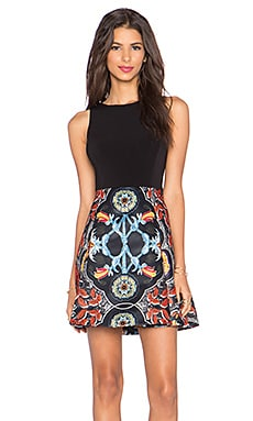 Alice + Olivia Kourtney Box Pleat Dress in Baroque Multi