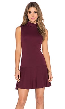 Alice + Olivia Glenn Drop Waist Turtleneck Dress in Merlot