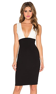 Alice + Olivia Esmira Fitted V Neck Dress in Cream & Black