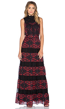 Alice + Olivia Briella Romantic Lace Maxi Dress in Red Lotus Flower