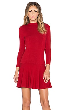 Alice + Olivia Cornelia Drop Waist Dress in Deep Red