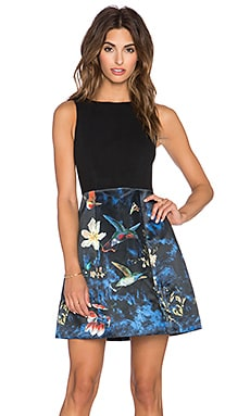 Alice + Olivia Alejandra Boatneck Combo Bell Dress in Enchanted Forest & Black
