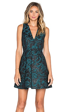 Alice + Olivia Malory V Neck Dress in Teal & Black