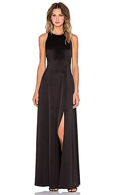 Alice + Olivia Wen T Back High Slit Maxi Dress in Black