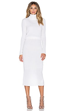 Alice + Olivia Hailee Ribbed Turtleneck Dress in Cream