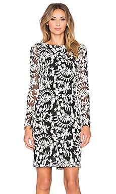 Alice + Olivia Katy Dress in Black & Cream