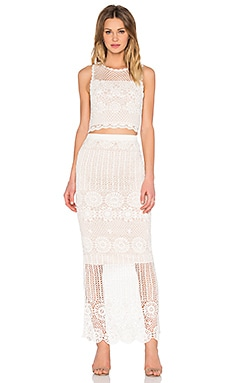 Crochet Crop Top & Skirt Set in Cream & Nude