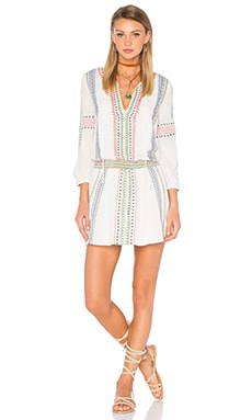 Alice + Olivia Jolene Embroidered Dress in Cream Multi
