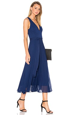 Ryn V Neck Tie Waist Midi Dress in Indigo