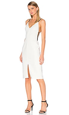 Sofie Lace Up Side Dress in White & Black