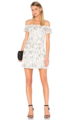 Alice + Olivia Janell Lace Off Shoulder Dress in White & Black
