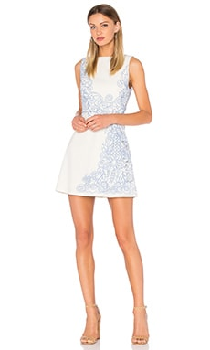Alice + Olivia Malin Embroidered Dress in Cream & Cobalt