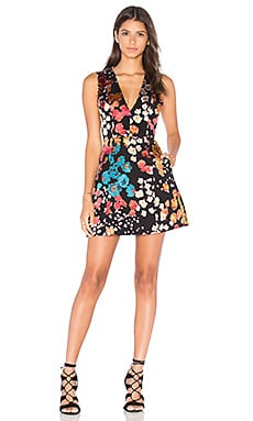 Alice + Olivia Patty V Neck Dress in Floral Field Burnout