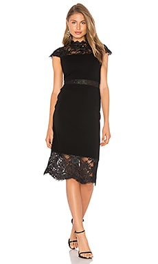 Kim Lace Midi Dress in Black