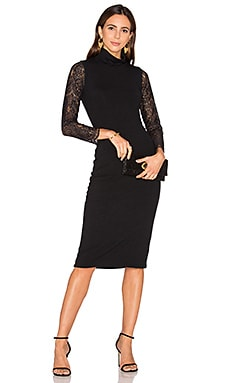 Alice + Olivia Kala Lace Midi Dress in Black