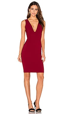 Alice + Olivia Esmra Fitted V Neck Dress in Bordeaux