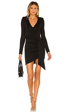 Kyra Deep V Drapey Mini Dress Alice + Olivia $330