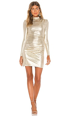 Hilary Ruched Mock Neck Dress Alice + Olivia $330 BEST SELLER