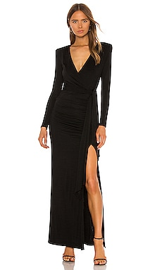 Kyra Deep V Drapey Maxi Dress Alice + Olivia $485