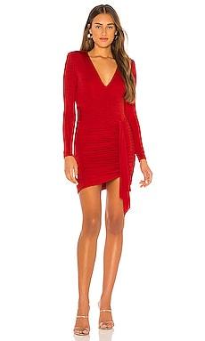 Kyra Deep V Drapey Mini Dress Alice + Olivia $330