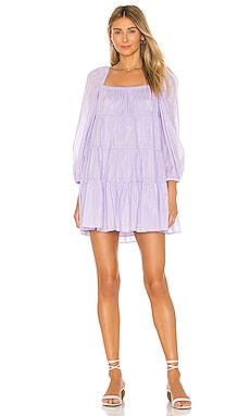 Rowen Tiered Square Neck Tunic Dress Alice + Olivia $330 BEST SELLER