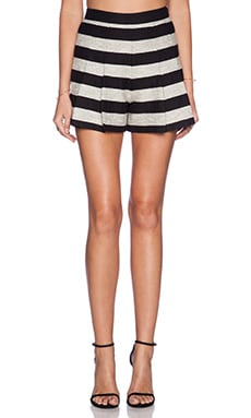 Alice + Olivia Back Zip Pleat Short in Black & Silver