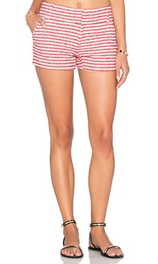 Alice + Olivia Cady Short in Red & Cream