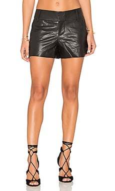 Alice + Olivia Cady Leather Short in Black